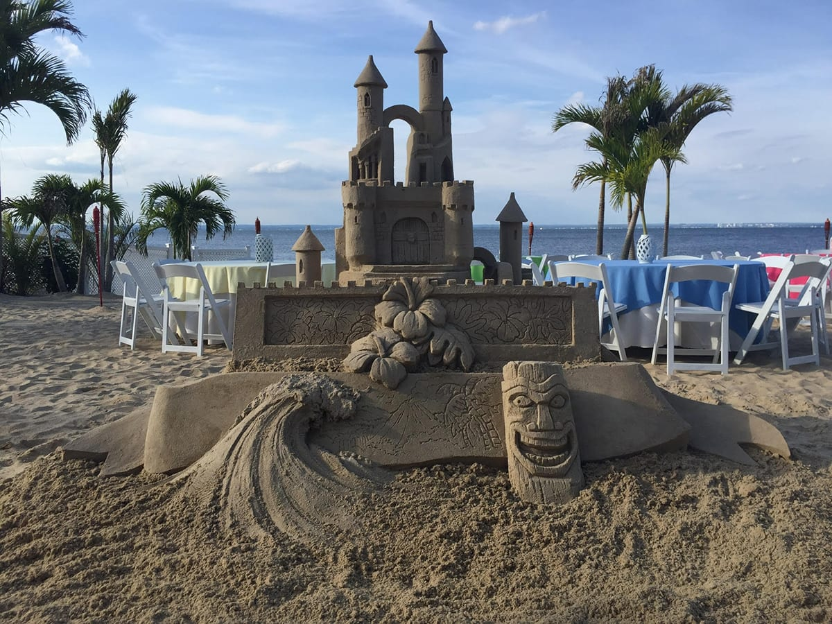 Sand castle built at the Crescent Beach Club beach and links to The Crescent Beach Club is the Perfect Team Building Destination Blog