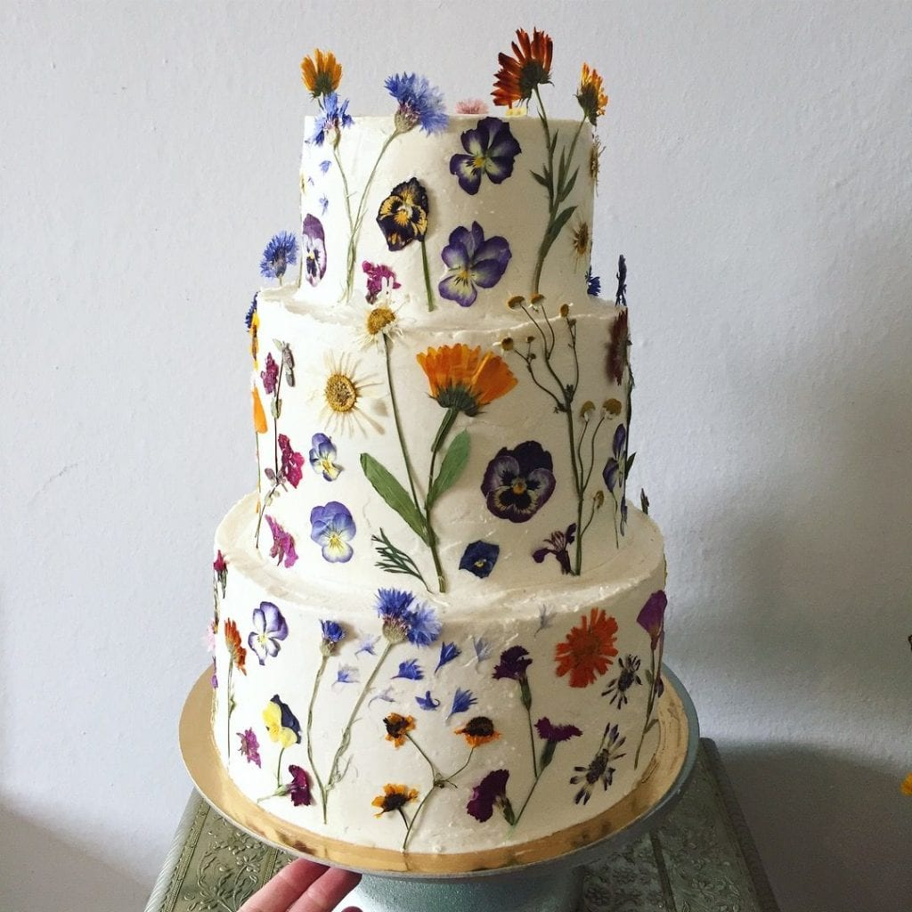 Pressed Edible Flowers on Wedding Cakes