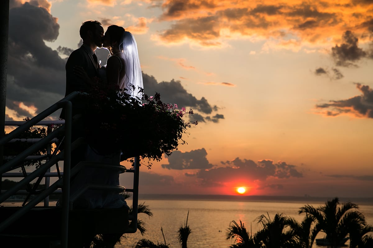 Beachfront wedding photos