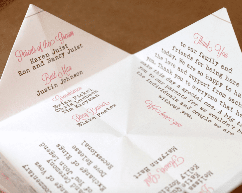 cootie catcher wedding ceremony program