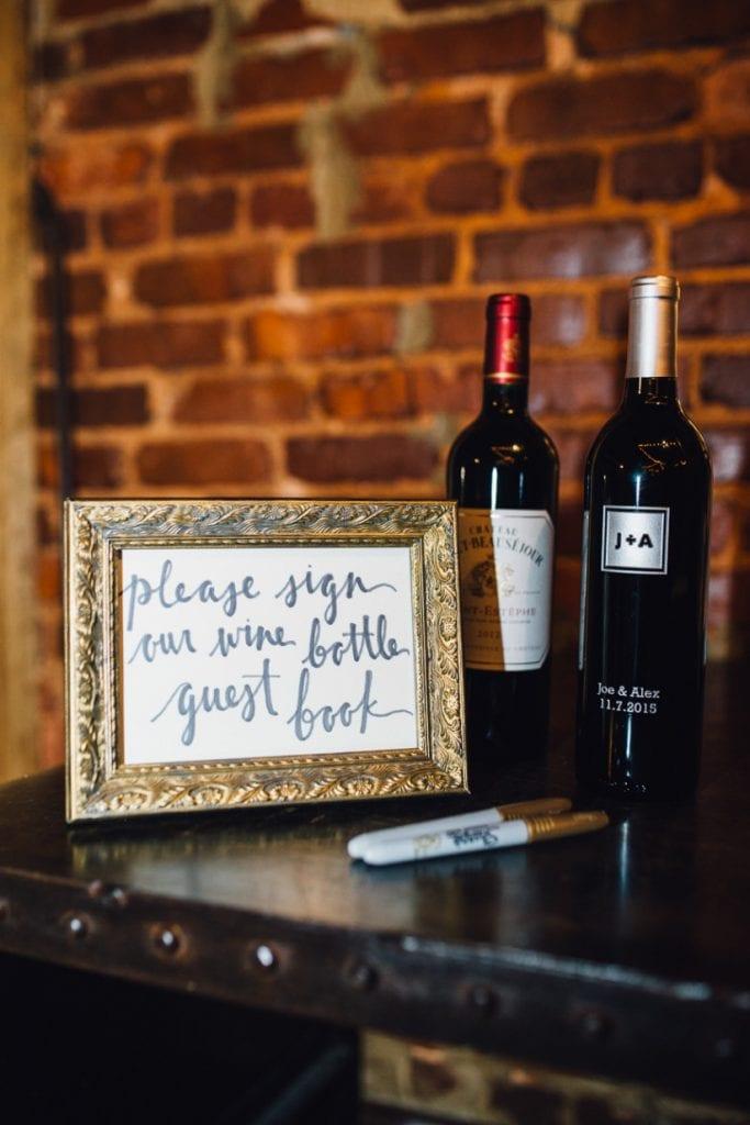 wedding guest book wine bottles