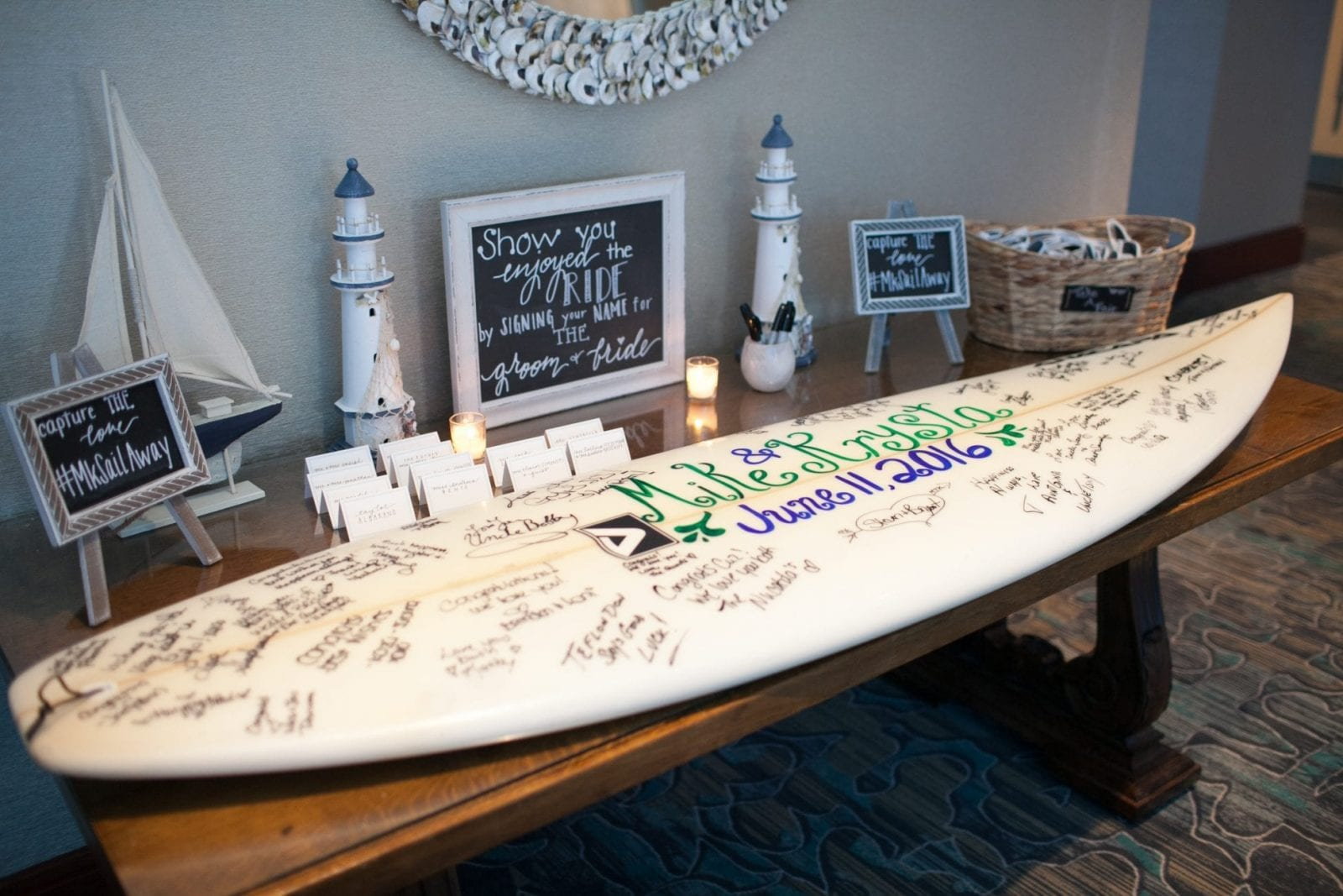 wedding guest book idea - surfboard signing