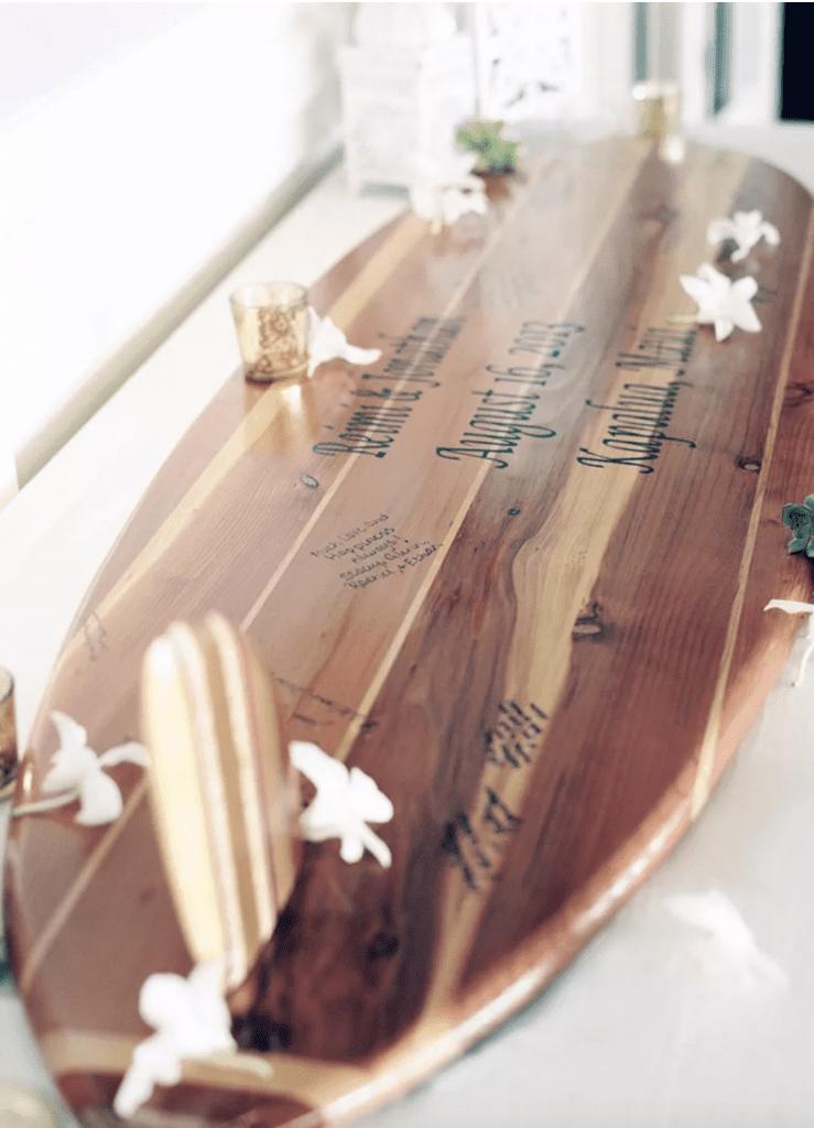 wedding guest book surfboard signatures