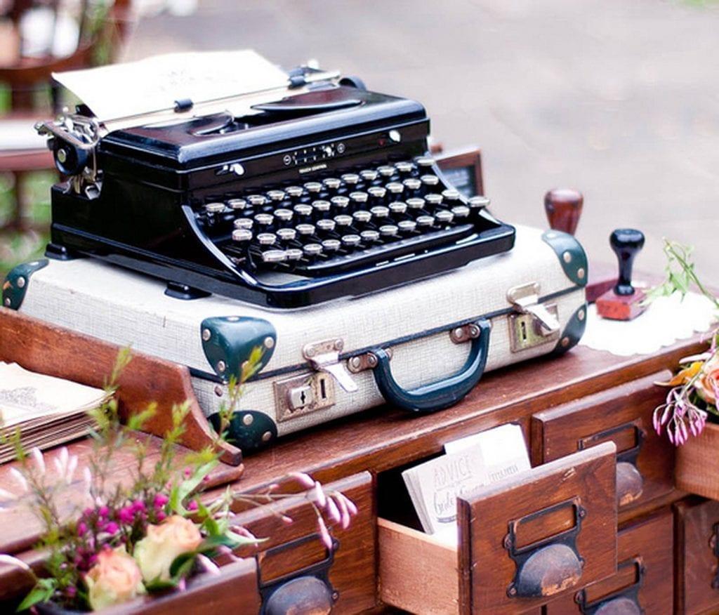 wedding guest book antique typewriter